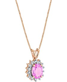 "Pink Sapphire (1-5/8 ct. t.w.) & Diamond (1/5 ct. t.w.) 18"" Pendant Necklace in 14k Rose Gold"