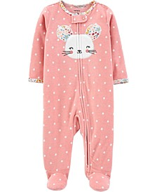 Baby Girl  Mouse Zip-Up Fleece Sleep & Play