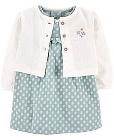 Baby Girl 2-Piece Bodysuit Dress & Cardigan Set