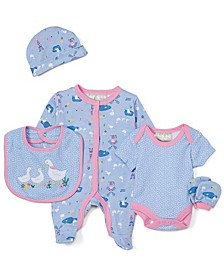 Baby Girls 5 Piece Sleeper Layette Set