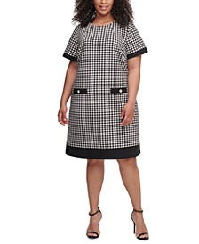Plus Size Short-Sleeve Houndstooth Dress