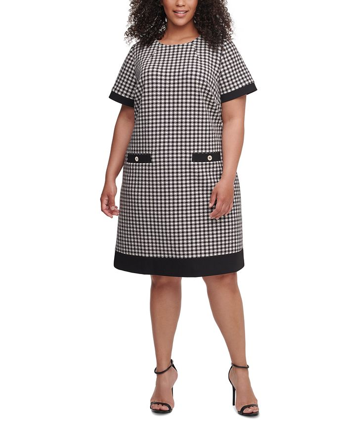 Tommy Hilfiger - Plus Size Short-Sleeve Houndstooth Dress