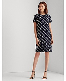 Anchor-Print Jacquard Dress