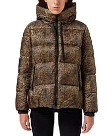 Leopard-Printed Hooded Puffer Coat