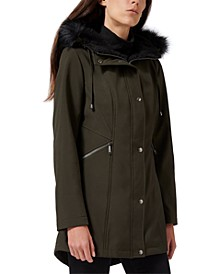 Faux-Fur-Trim Hooded Raincoat