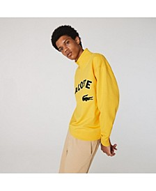 Men's LIVE Loose Fit Long Sleeve Zip-Neck Fleece Sweatshirt with Flocked Lacoste Logo and Croc Patch