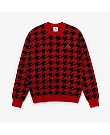 Men's LIVE Long Sleeve Crew Neck Sweater with Oversize Houndstooth Print