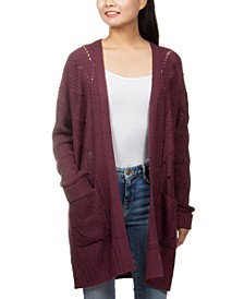 Juniors' Open-Stitch Open-Front Cardigan