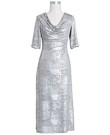 Petite Drape-Neck Metallic Dress