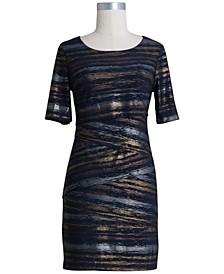 Petite Metallic Sheer Sheath Dress