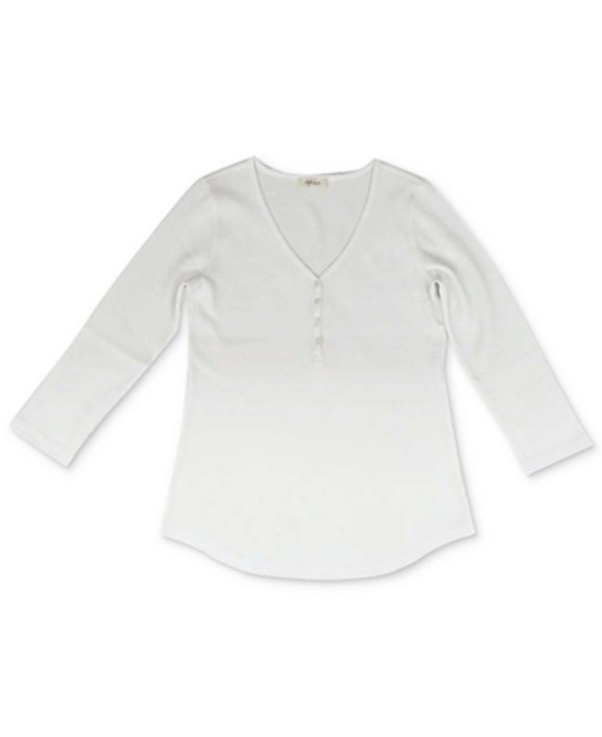Style & Co Plus Size Solid Waffle Henley Top, Created For Macy's