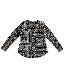 Tapestry Printed Sweater-Knit Top, Created for Macy's