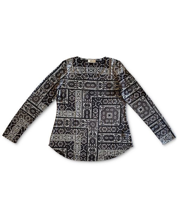 Style & Co Plus Size Geometric-Print Top, Created for Macy's