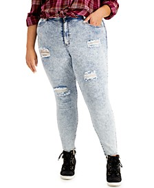 Trendy Plus Size High-Rise Acid Wash Distressed Skinny Ankle Jeans