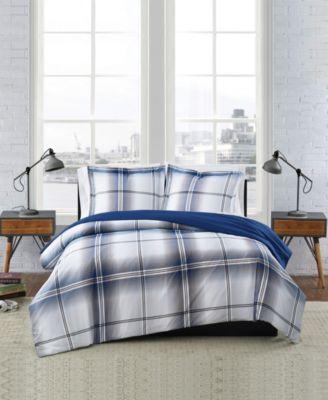 Nolan Houndstooth Stripe 3 Piece Comforter Set, Full/Queen