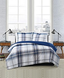 Nolan Houndstooth Stripe 3 Piece Comforter Set, Full/Queen