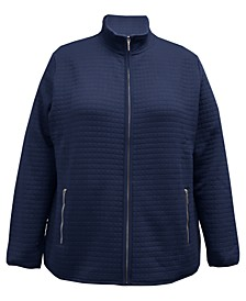 Plus Size Quilted Fleece Jacket, Created for Macy's