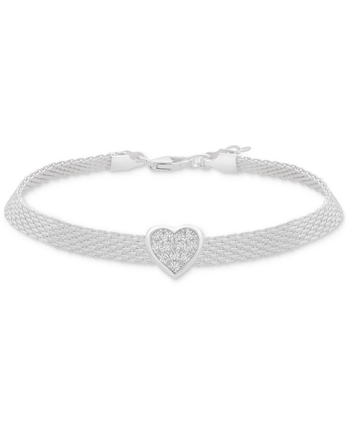 Macy's - Cubic Zirconia Heart Mesh Link Bracelet in Sterling Silver