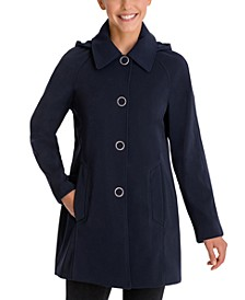 Single-Breasted Hooded Raincoat