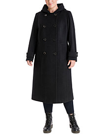 Anne Klein Plus Size Double-Breasted Hooded Coat