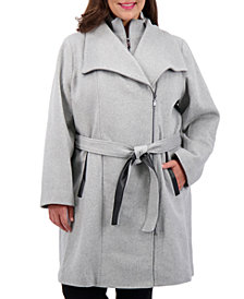 Vince Camuto Plus Size Belted Wrap Coat, Created for Macy's