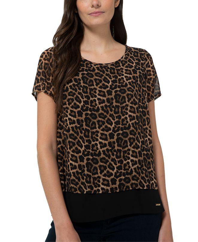 Michael Kors Plus Size Split-Back Leopard-Print Top