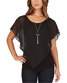 Juniors' Lattice-Back Popover Necklace Top