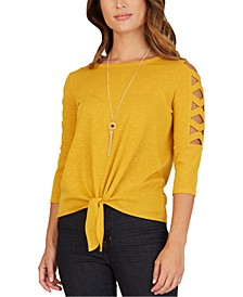 Juniors' Lattice-Sleeve Tie-Front Necklace Top