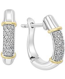 EFFY® Diamond Hoop Earrings (1/6 ct. t.w.) in Sterling Silver & 18k Gold-Plate