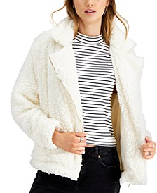 Juniors' Faux-Fur Moto Jacket