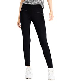 Juniors' High-Waist Zipper-Detail Ponte Leggings