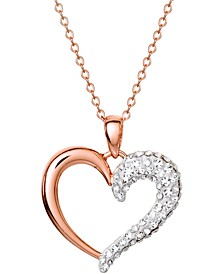 "Crystal Heart 18"" Pendant Necklace in 14k Rose Gold-Plated Sterling Silver, Created for Macy's"