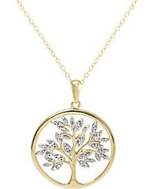 """Crystal Tree 18"""" Pendant Necklace in 14k Gold-Plated Sterling Silver, Created for Macy's"""