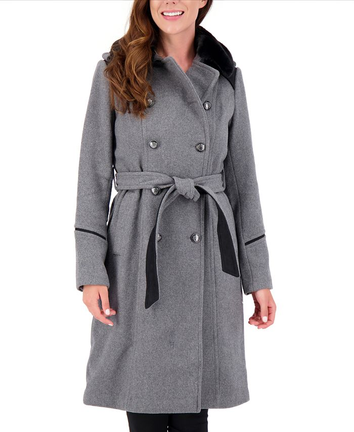 Vince Camuto - Faux-Fur-Collar Double-Breasted Belted Coat