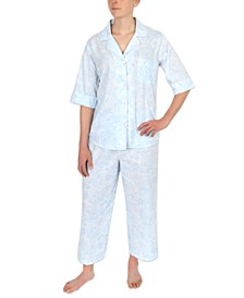 Printed Cotton Capri Pajama Set