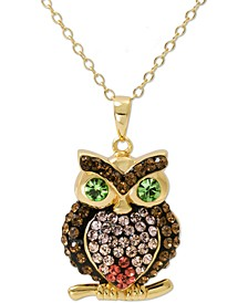 """Swarovski Crystal Owl 18"""" Pendant Necklace in 14k Gold-Plated Sterling Silver, Created for Macy's"""
