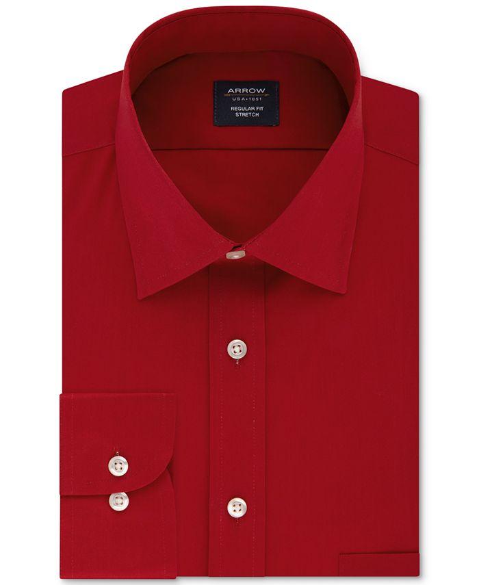 Arrow - Men's Classic/Regular-Fit Non-Iron Performance Stretch Solid Dress Shirt