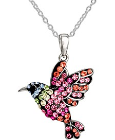 "Swarovski Crystal Hummingbird 18"" Pendant Necklace in Sterling Silver, Created for Macy's"