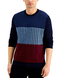 Club Room Men's Merino Wool Blend Houndstooth Sweater, Created for Macy's