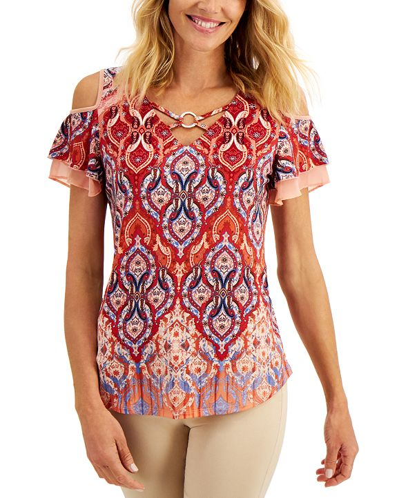 JM Collection Ruffle-Sleeve Criss-Cross Top, Created for Macy's