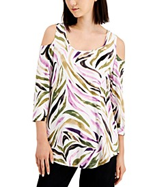 Zebra-Print Cold-Shoulder Top, Created for Macy's