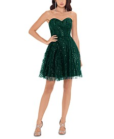 Juniors' Strapless Glitter Dress