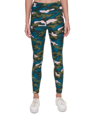 Calvin Klein Performance Printed High-waist Leggings In Camo Blue/pink Combo