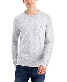 Men's Long-Sleeve Reverse-Print Crew Neck T-Shirt