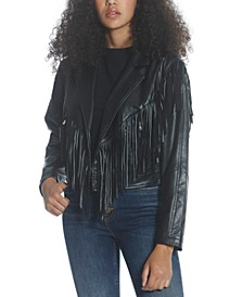 Fringed Faux-Leather Jacket