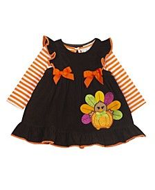 Baby Girls Corduroy Jumper with Turkey Applique