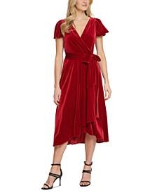 Velvet Flutter-Sleeve Midi Dress