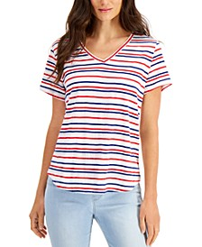 Petite Striped V-Neck Cotton T-Shirt, Created for Macy's