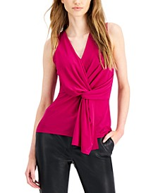 INC Petite Draped Knotted Top, Created for Macy's