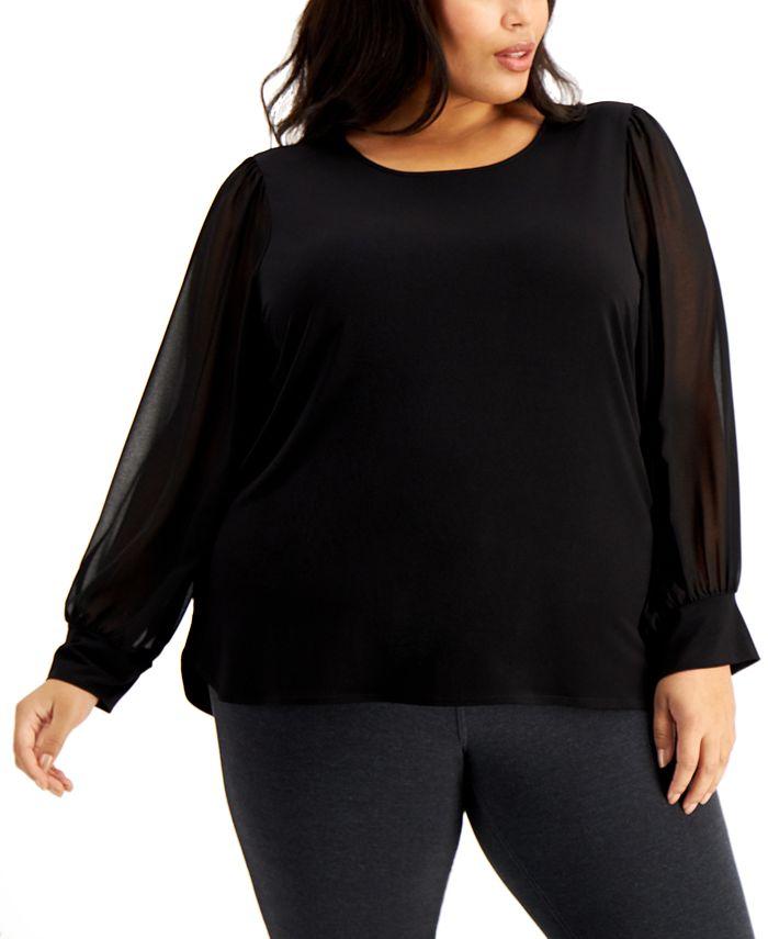 Calvin Klein - Plus Size Sheer-Sleeve Top